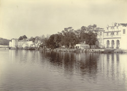 The Lake, the Gaughor Ghat, and a part of the city, Udaipur. From the west.